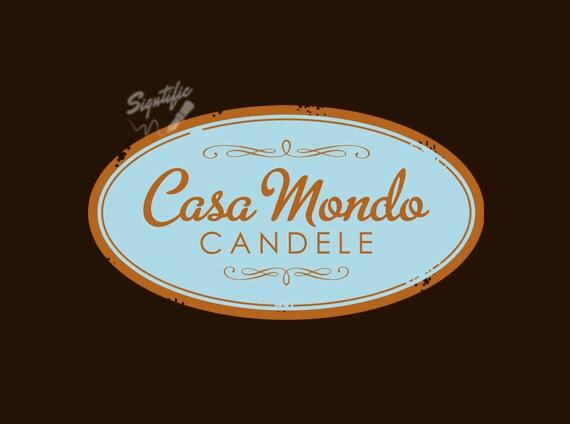 Candle Label Design, Custom Vintage Product Label Design, Distressed Label Design, Oval Candle Label Logo, Premade Candle Jar Logo Design