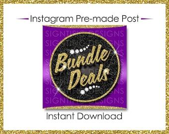Instant Download, Bundle Deals, Hair Extensions Flyer, Instagram Caption, Gold and Purple, Premade Online Flyer, Instagram Flyer, Hair Flyer