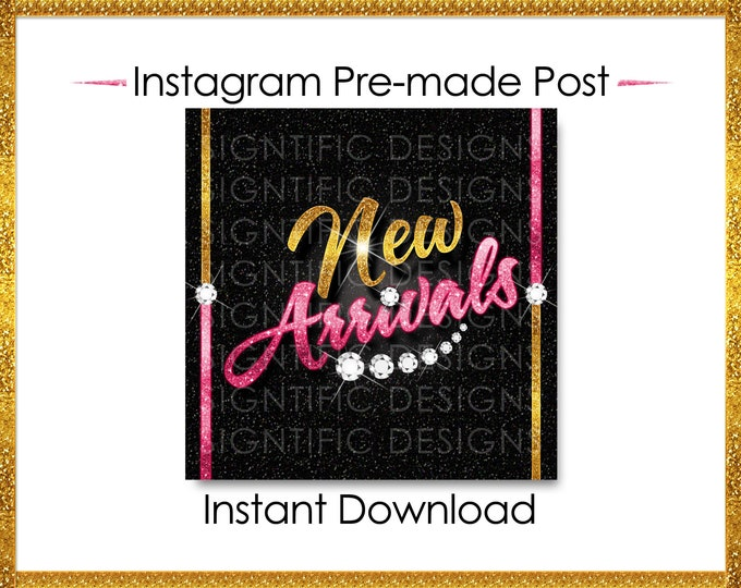 Instant Download, New Arrivals, Hair Extensions Post, Instagram Post, Gold and Pink, Digital Flyer, Instagram Flyer, Hair Business Flyer