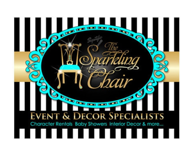 Decor and Event Logo, Furniture Logo Design, Interior Decor Logo, Small Business Logo, Gold and Teal Logo, Vintage Frame Logo