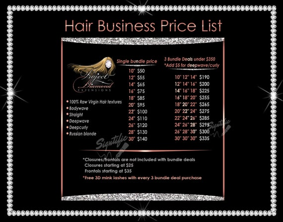 Hair Price List, Hair Business Flyer, Hair Prices, Bundle Price List, Instagram Price List, Hair Extensions Prices, Instagram Post Flyer