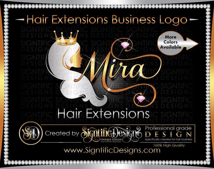 Hair Extensions Logo, Crown Hair Logo, Hair Business Logo, Bling Logo, Hair Bundles Logo, Wig Logo, Hair Branding Logo, Bling Diamond Logo