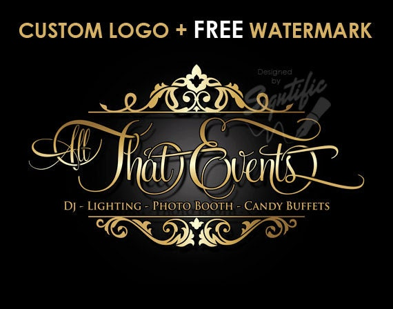 Custom Events planning logo, Free Watermark, Free PSD source File, Gold Lettering and Decorative Frame, Custom event business logo Design