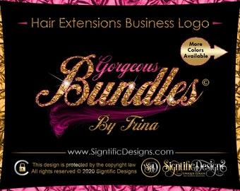 Hair Extension Logo, Gold Foil Logo, Glitter Bundle Logo, Hair Company Logo, Bling Logo, Wig Logo, Logo Hair, Hair Branding, Logo Design