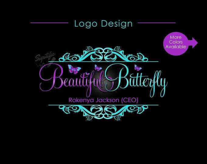 Hair Extension Logo, Hair Logo, Butterfly Logo, Hair Business Logo, Vintage Logo, Virgin Hair Logo, Hair Bundle Logo, Branding Logo Design