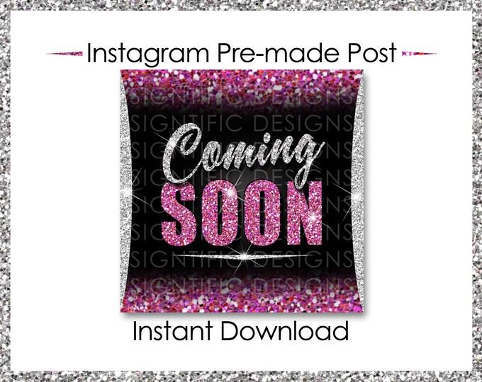 Instant Download, Coming Soon, Hair Extensions Flyer, Glitter Silver Pink, Instagram Post, Digital Online Flyer, Social Media Post, IG Post