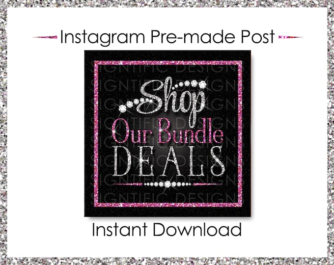 Instant Download, Shop Our Bundle Deals, Glitter Bundle Flyer, Hair Extensions Post, Instagram Post, Glitter Silver Pink, Digital Post Flyer