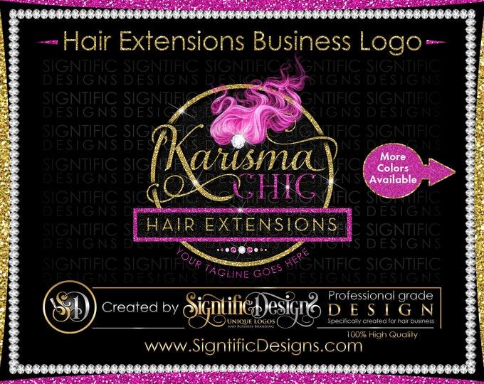 Hair Extension Logo, Pink Hair Logo, Hair Business Logo, Extensions Logo, Hair Glitter Logo, Diamond Bling Logo, Bundle Wrap Logo, Wig Logo