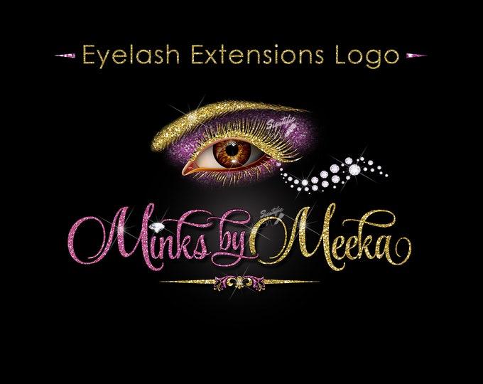 Eyelash Extension Logo, Eyelash Business Logo, Glitter logo, Lash Business Logo, Eyelash Branding, Lash Diamond Logo, Eye Lash Company Logo