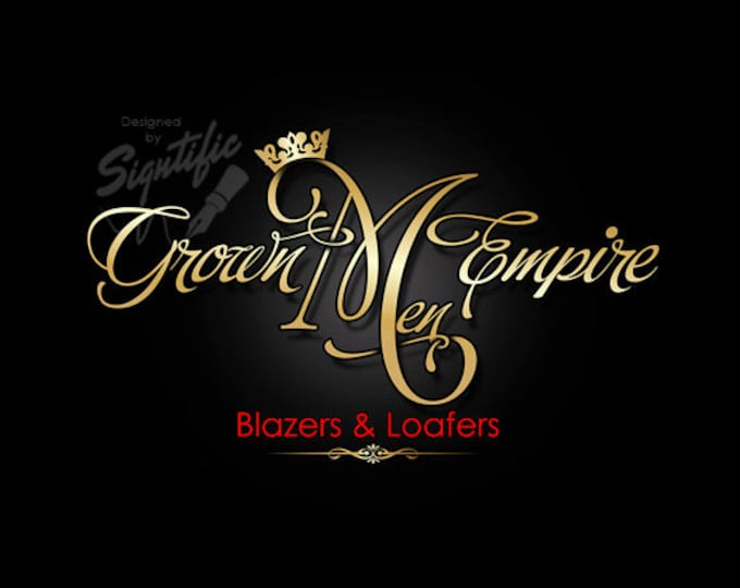 Classy business logo, elegant gold logo, unique signature style logo for business, attractive logo design, OOAK gold and red logo with crown