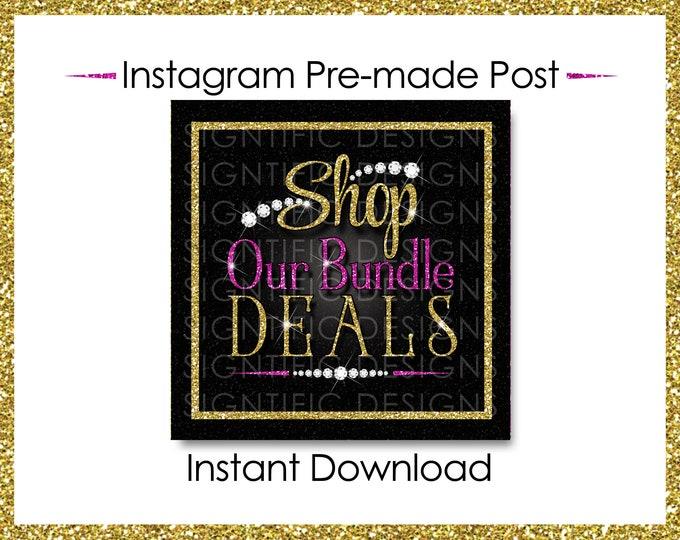 Instant Download, Shop Our Bundle Deals, Glitter Bundle Flyer, Hair Extensions Post, Instagram Post, Glitter Gold Pink, Digital Online Flyer