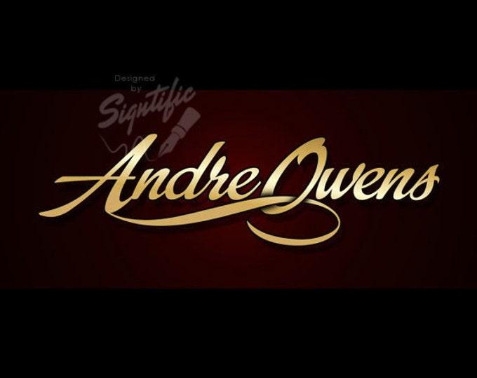 Elegant name signature - FREE watermark, gold name in stylish gold lettering, brand name logo design, custom logo, OOAK business logo design