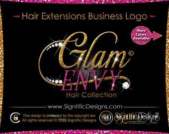 New Hair Logo, Hair Extension Logo, Diamond Logo, Bling Glitter logo, Hair Business Logo, Gold Glitter Logo, Wig Logo, Hair Branding Logo