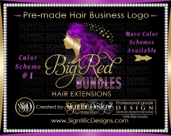 Hair Extensions Logo, Hair Business Logo, Flowing Hair Logo, Virgin Hair Logo, Hair Bundle Logo, Premade Hair Logo, Glitter Bling Logo