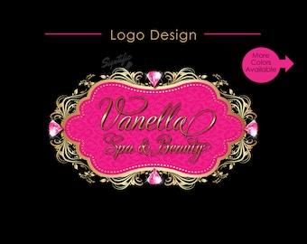 Logo Design, Diamond Logo, Business Logo, Beauty Salon Logo, Spa Logo, Vintage Frame Logo, Diamond Bling Logo, Hair Extension Logo, Branding