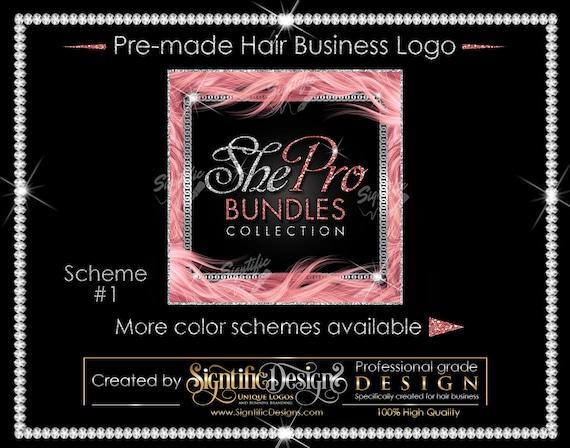 Premade Hair Logo, Hair Extensions Logo, Hair Business Logo, Hair Frame Logo, Virgin Hair Logo, Hair Bundle Logo, Glitter Bling Logo