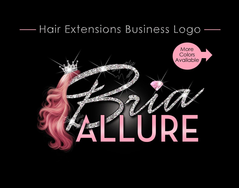 hair extensions logo hair bundle business logo glitter
