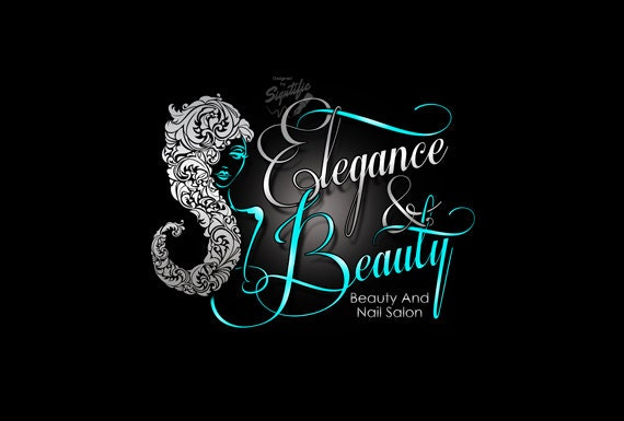 Beauty And Nail Salon Logo Custom Business Logo Silver And Teal