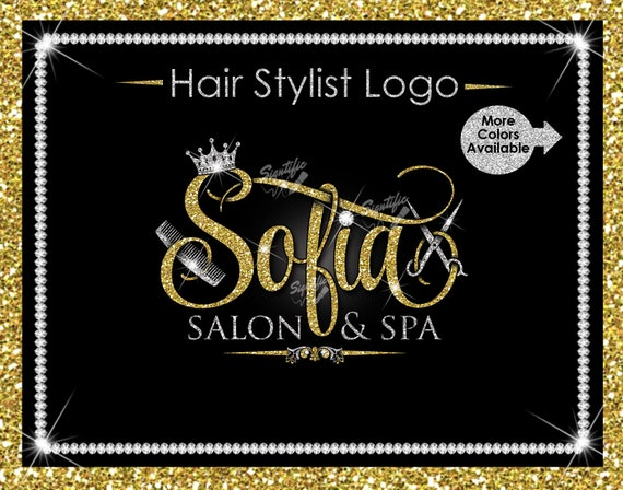 Hair Stylist Logo, Spa Logo, Hair Business Logo, Scissors Logo, Glitter Logo, Comb Logo, Hair Salon Logo, Hair Logo, Hair Dresser Logo