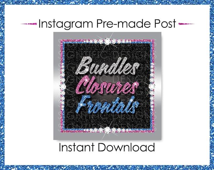 Instant Download, Bundles Closures Frontals, Hair Extensions Flyer, Glitter silver Pink Blue, Digital Hair Flyer, IG Post, Social Media Post