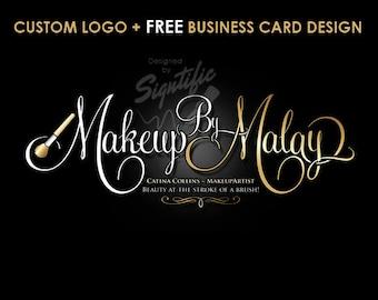 Makeup Artist Logo, Free Business Card Design, Custom Makeup Artist Logo in Gold and White Lettering, Beauty Salon Logo, Calligraphy Logo