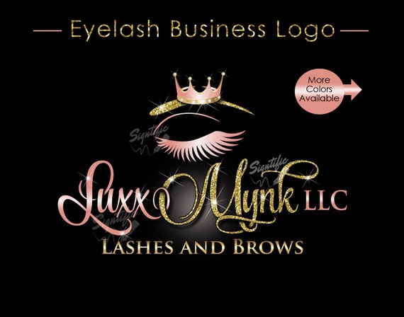 Eyelash Business Logo, Semi Custom Logo, Bling Crown Logo, Lashes Logo, Glitter Salon Logo, Business Logo, Bling Logo, Logo Brand Design