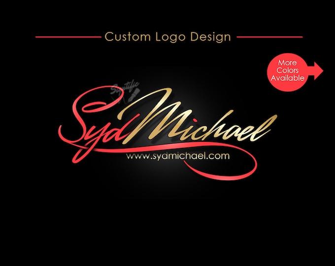 Custom Signature Text Logo, Name Signature Logo Design, Calligraphy Logo, Cursive Lettering, Gold and Red Logo, Business Name Logo Design