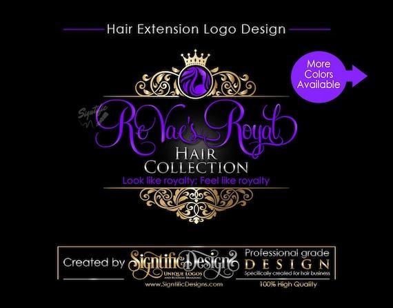 Hair Extensions Logo, Hair Logo Design, Salon Logo, Hair Collection Logo, Gold and Purple Logo, Crown Logo, Vintage Frame, Virgin Hair Logo