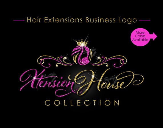 Hair Extensions Logo, Glitter Logo, Hair Business Logo, Bling Logo, Mane Logo, Tresses Logo, Virgin Hair Logo, Bundle Logo, Hair Tag Logo