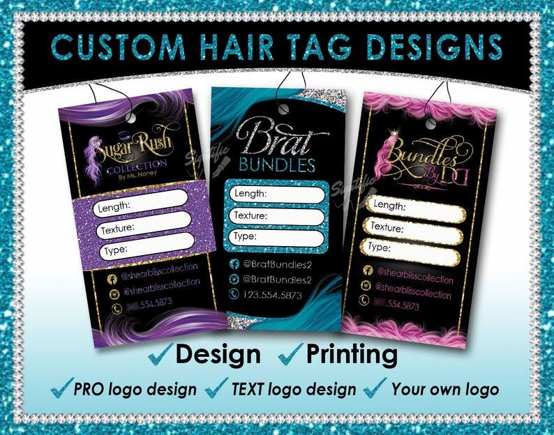 Hair Tag Designs Premade hang tags Hair Extension Tags Hair image 0