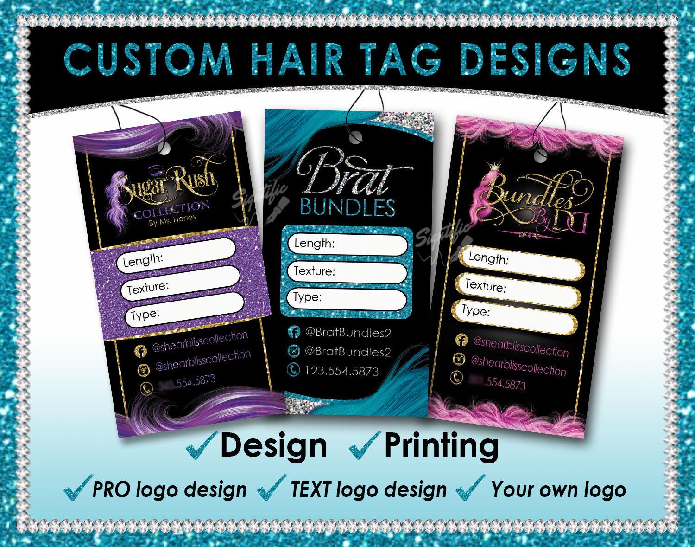 Hair Tag Designs Premade hang tags Hair Extension Tags Hair