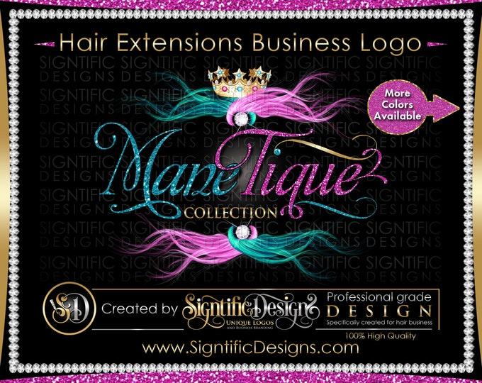 Hair Extensions Logo, Hair Glitter logo, Hair Branding, Bundle Logo, Bling Hair Logo, Flowing Hair Logo, Packaging Logo, Hair Business Logo