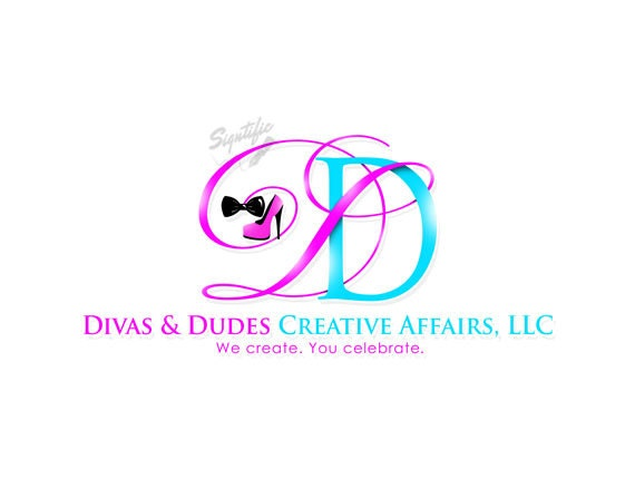 Custom Logo Design, Event Planning Logo, Pink and Turquoise Logo with Initials, Logo Initials with High Heel and Bowtie, Events Logo Design