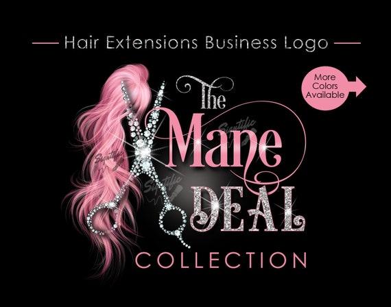 Hair Extensions Logo, Bling Scissors Logo, Hair Business Logo, Packaging Logo, Bling Logo, Name Signature Brand, Logo for Hair, Hair Brand