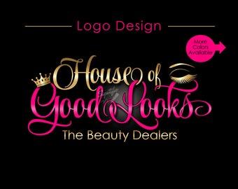 Custom Logo, Eyelash Salon Logo, Makeup Logo, Makeup Artistry Logo, Lashes Logo, Beauty Salon Logo, Business Logo, Crown Logo, Logo Custom