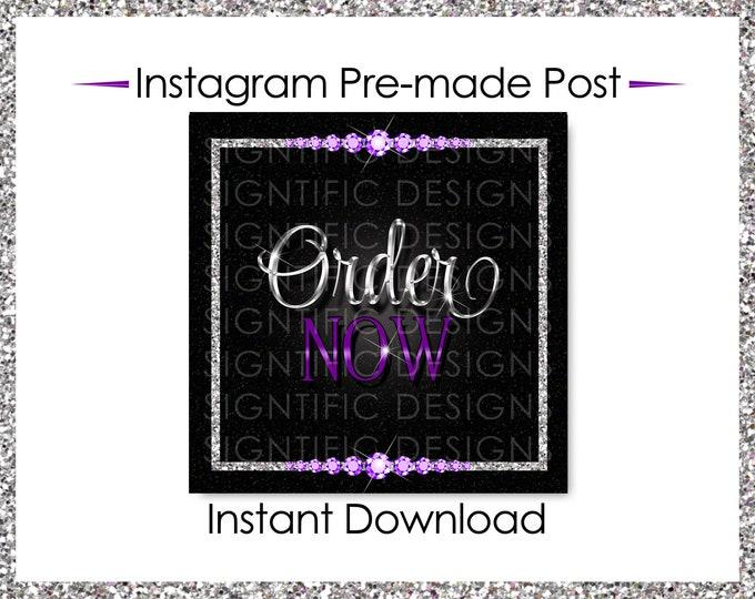 Instant Download, Order Now, Hair Extensions Flyer, Instagram Post, Glitter Silver Purple Flyer, Digital Online Flyer, Bundle Glitter Flyer