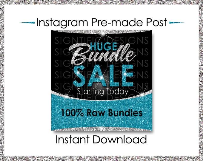 Instant Download, Huge Bundle Sale, Hair Extension Flyer, Instagram Post, Digital Flyer, Silver and Teal, Instagram Flyer, IG Post Flyer