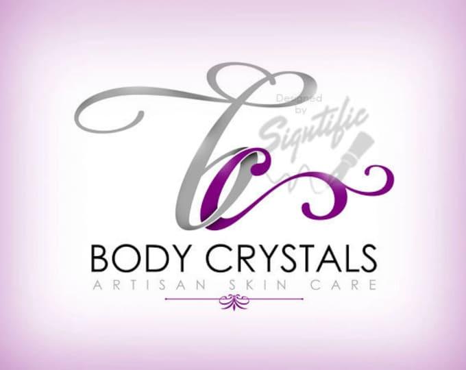 Beauty salon logo, FREE business card design, purple and silver logo, unique initials logo, professional business logo, OOAK salon logo