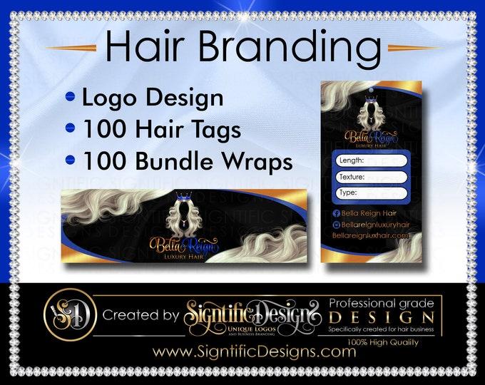 Hair Branding, Hair Extensions Logo, 100 Hair Tags, 100 Bundle Wraps, Hair Packaging, Hair Labels, Hair Brand, Bundle Tags, Bundle Label