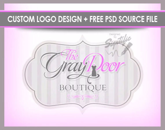 Custom boutique Logo, FREE PSD source file pink and gray logo, OOAK fashion boutique logo with an image and a frame in your colors