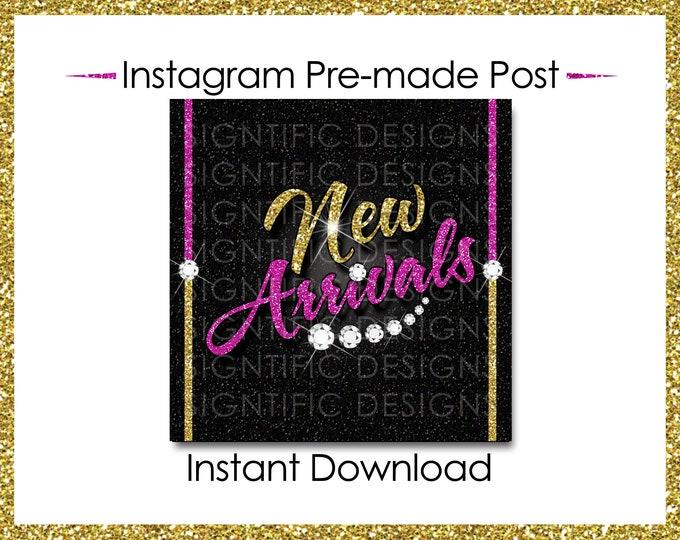 Instant Download, Hair Extensions Post, New Arrivals, Instagram Post, Glitter Gold Pink, Digital Flyer, Instagram Flyer, Hair Business Flyer