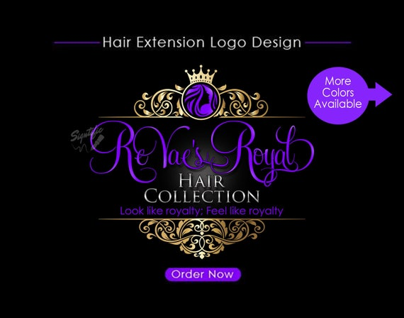 Hair Extensions Logo, Hair Logo Design, Salon Logo, Hair Collection Logo, Gold and Purple Logo, Crown Logo, Vintage Frame, Virgin Hair Logo