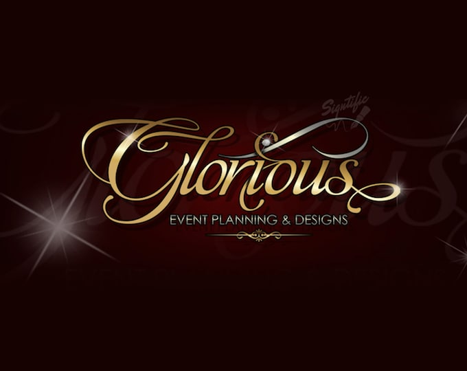 Custom Text Logo with Blings, Event Planning Logo Design, Gold and Silver Lettering on Burgundy Background, Custom Logo, Free PSD File