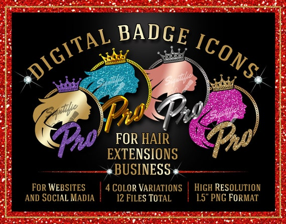 Hair Extensions Pro Badge Icons Instant Download, Website Badge, Social Media Icons, Round Badge, Hair Business Icon, Professional Seal Icon
