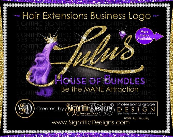 Hair Extension Business Logo, Hair Brand Logo, Virgin Hair Packaging Logo, Hair Bundle Logo, Hair Tags Logo, Curly Hair Logo design Brand