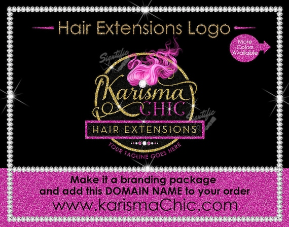 Hair Extensions Logo, Hair Glitter logo, Hair Logo, Bling Hair Logo, Flowing Hair Logo, Packaging Logo, Semi Custom Logo, Hair Stylist Logo