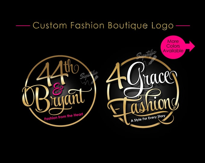Custom Boutique Logo, Circular Logo, Fashion Logo, Clothing Logo, Attire Logo, Apparel Logo, Couture Logo, Badge Logo, Clothing Branding