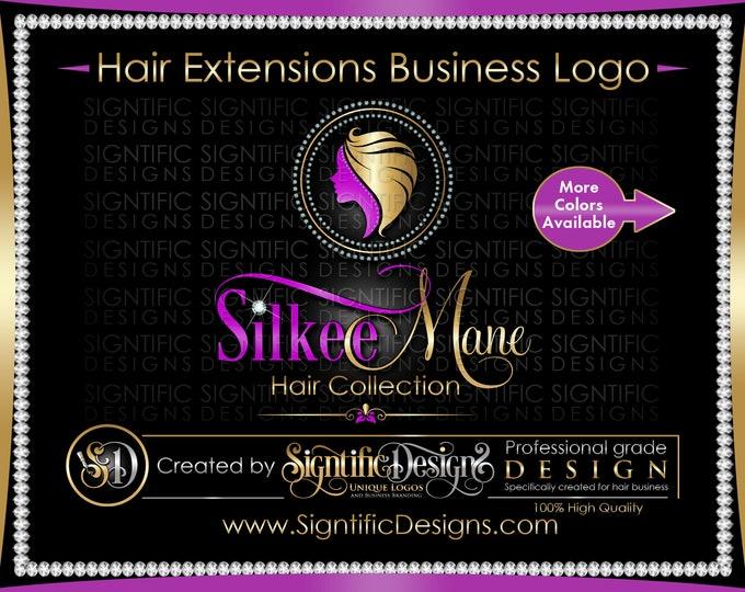 Hair Extensions Logo, Hair Business Logo, Bling Logo Design, Hair Business Brand, Diamond Frame Logo, Hair Bundle Branding, Hair Tag Logo