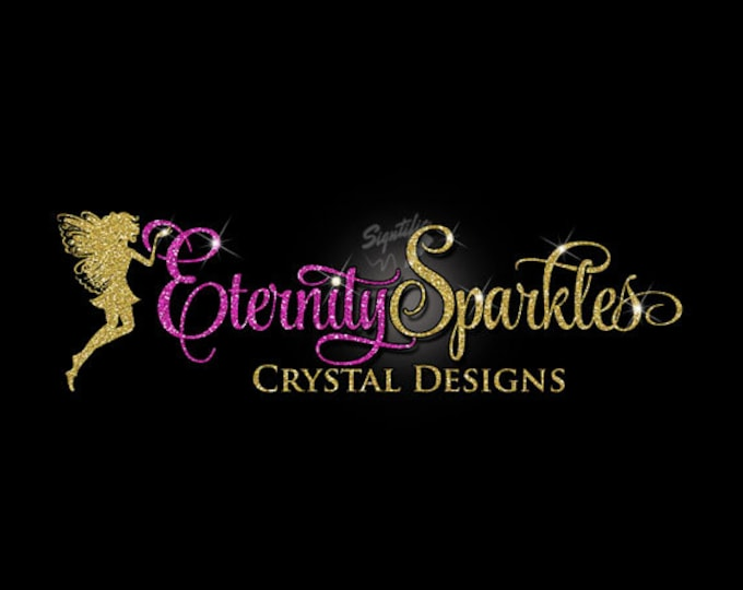 Glitter bling Custom Logo with Fairy, Glitter Fuchsia and gold Logo with Sparkles, Bling Hot Pink and Gold Shimmer Logo, Gold, Pink Glitters