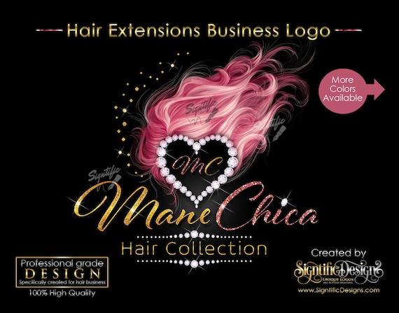 Hair Extensions Logo, Hair Business Brand, Hair Bundle Logo, Diamond Heart Logo, Bling Diamond Logo, Glitter Hair Logo, Hair Packaging Logo